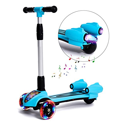 Deluxe Pedal Car (MammyGol Kick Scooters for Kids,Adjustable Handle  Folding LED Spray Jet Scooter, 3 wheeled, 110lb Weight Limit, age 3-8 (Blue))