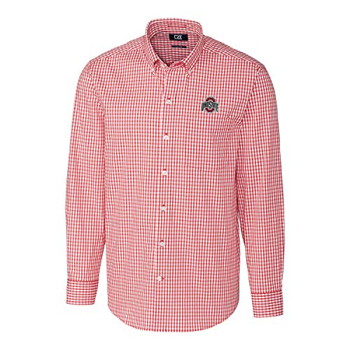 Cutter & Buck NCAA Ohio State Buckeyes Mens Long Sleeve Button Down Stretch Gingham Shirt, Cardinal Red, Large