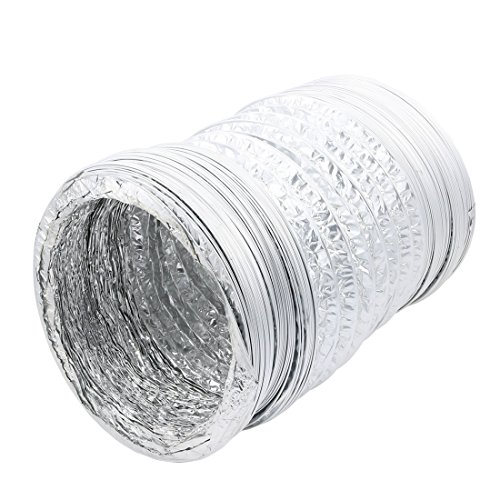 uxcell 12 inch Aluminum Foil Hose Ducting Flexible Pipe Ventilation 4M Long with Clamps by uxcell