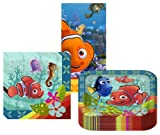 Disney/Pixar Finding Nemo Coral Reef Party Suppiles Pack Including Plates, Napkins and Tablecover - 16 Guests