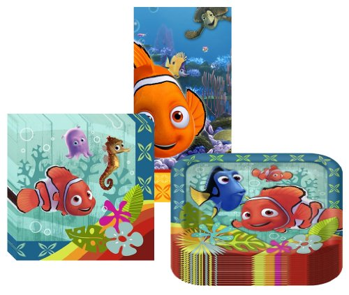 Disney/Pixar Finding Nemo Coral Reef Party Suppiles Pack Including Plates, Napkins and Tablecover - 16 Guests by Hallmark