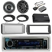 Kenwood Bluetooth CD AM/FM Marine Stereo, 2x Kicker 600W 6-1/2 Black Speakers, Scosche 1996-12 Harley Davidson Dash Kit, Handlebar Control Interface, Weathershield, 2x Speaker Adapters, Kicker Amp