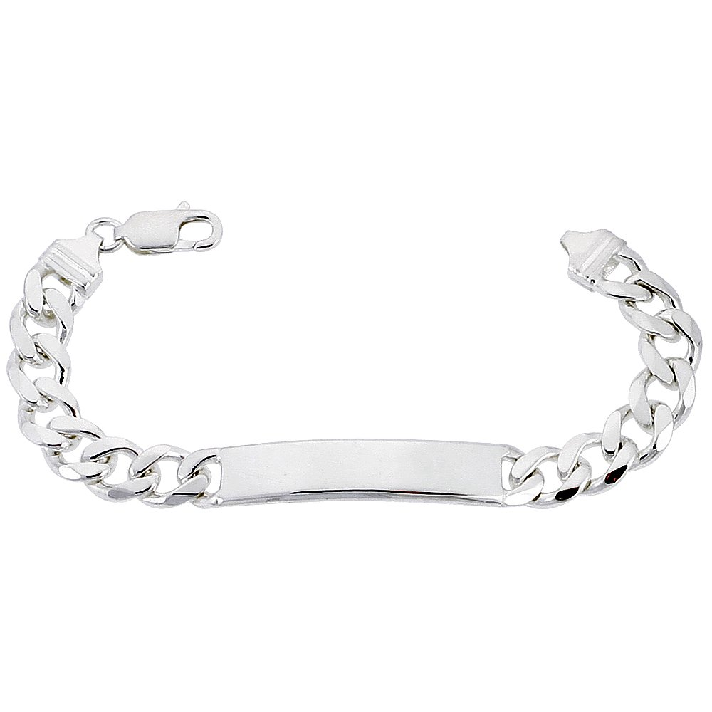 Sterling Silver ID Bracelet Curb Link 3/8 inch wide Nickel Free Italy 7 inch