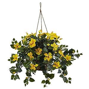 Nearly Natural Hibiscus Hanging Basket 11