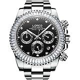 LOREO Men Automatic Mechanical Multifunction Stainless Steel Sapphire Crystal Blcak Dial Waterproof Watch