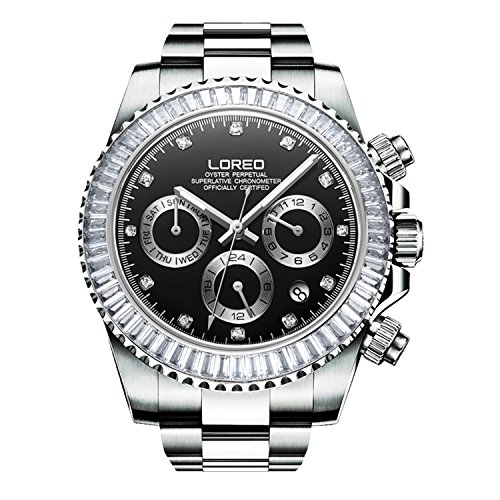 Calendar 2017 Holiday Card - LOREO Men Automatic Mechanical Multifunction Stainless Steel Sapphire Crystal Blcak Dial Waterproof Watch