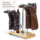 INNOKA 4 Pairs Boot Rack Organizer, Modern Standing Wooden & Aluminum Storage Holder Hanger for Riding Boots, Rain Boots, Shoes - Easy to Assemble, Space-Saving, Keep Boots in Shape