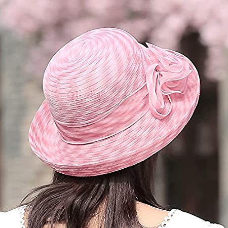 Hat Female Summer Sun Hat Travel Sunscreen Anti-UV Folding Beach Cool Hat color : Brown pink