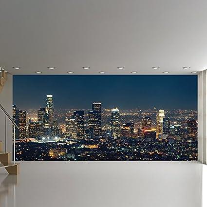 panoramic wallpaper murals  Amazon.com: azutura Los Angeles Panoramic Wall Mural City Skyline ...