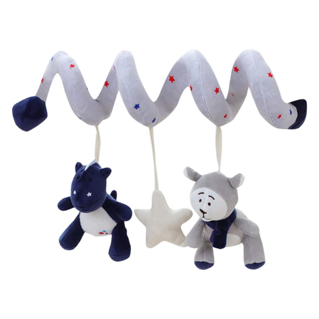 Baby Hanging Toys Bear Dinosaur Stroller and Bed Spiral Hanging Toys for Infant Baby Kids