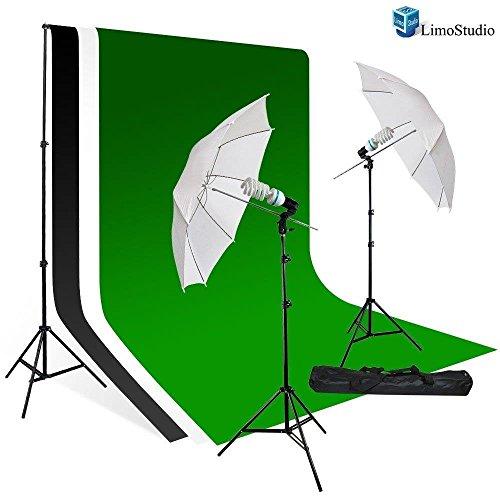 LimoStudio Photography Studio Lighting Kit, White Umbrella Light Muslin Backdrop