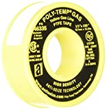 ANTI-SEIZE TECHNOLOGY 46335 Yellow PTFE Poly-Temp Extra Heavy Duty Gas Line Tape, 520'' Length, 0.5'' Width (Pack of 5)