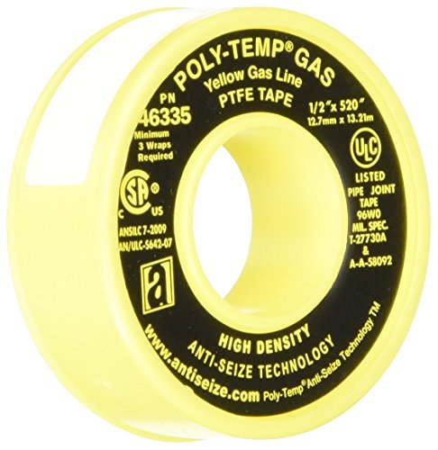 ANTI-SEIZE TECHNOLOGY 46335 Yellow PTFE Poly-Temp Extra Heavy Duty Gas Line Tape, 520