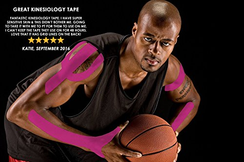 Physix Gear Sport 6 Pack Kinesiology Tape - Free Illustrated E-Guide - 16ft Uncut Roll - Best Pain Relief Adhesive for Muscles, Shin Splints Knee & Shoulder - 24/7 Waterproof Therapeutic Aid (Pink) by Physix Gear Sport (Image #3)