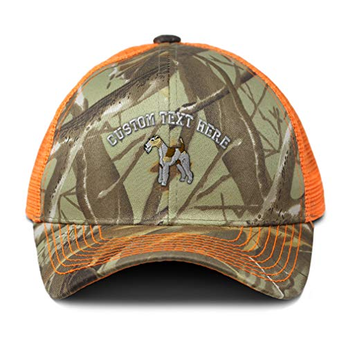 Custom Camo Mesh Trucker Hat Fox Terrier Embroidery Cotton Neon Hunting Baseball Cap Strap Closure One Size Orange Camo Personalized Text Here