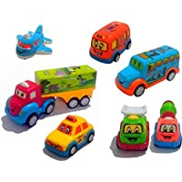 Cartup Unbreakable Automobile Car Toy Set , Pull Back Car Truck Toy Set for Kids - 7 Toys (Fun Auto)