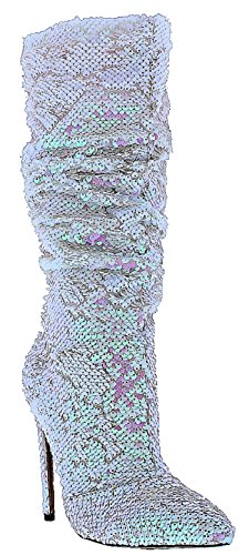 Hologram Sequin (Liliana Xaya-19 Knee High Stiletto Heel Pointed Toe Scrunch Slouchy Sequin Boots Hologram Pink 9)