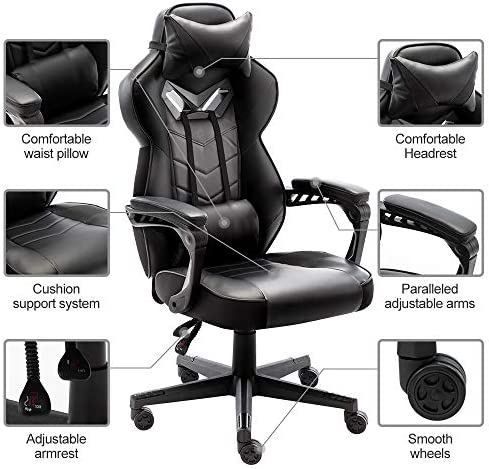 Bonzy Home Gaming Chair Office Chair High Back Computer Chair PU Leather Desk Chair PC Racing Executive Ergonomic Adjustable Swivel Task Chair with Headrest and Lumbar Support (Black) 51DkMGGojqL
