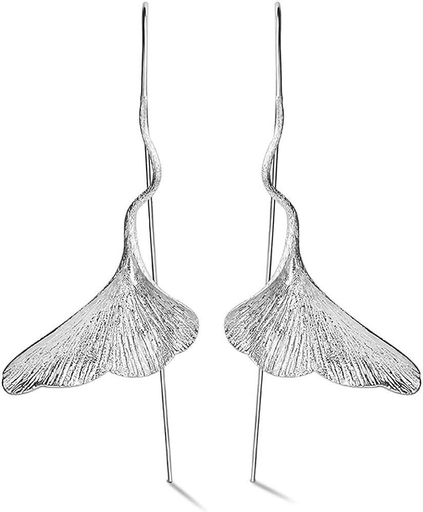 Lotus FUN S925 plata de ley mujer pendientes Ginkgo hojas pendientes de gota Pendientes Joyas, hechas a mano n-incomparable joyas