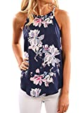 SVALIY Women High Neck Floral Sleeveless Casual Tops Tanks Camis T-shirt Blouse Navy Blue S