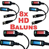 USG Premium EIGHT HD 5MP CCTV Baluns Transceivers : BNC + 2-Wire Screw-down Clamp : Ground Loop Isolated : Lightning Proof : Video Over UTP Cable : Passive : Up To 5MP : HD-TVI, HD-CVI, AHD, Analog