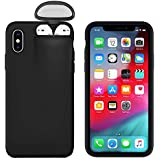 2 in 1 Phone Airpods Case For iPhone 11 Pro Max Case Xs Max Xr X 10 8 7 Plus Cover for AirPods Holder Hard Case for AirPods Case (Black,iPhone X Xs)