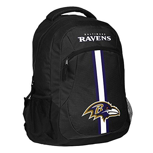 1pc Large NFL Ravens Backpack, Stripe Logo Football Themed Strap Back Sports Pattern, BAL Merchandise Athletic American Team Spirit Fan School Bag Bird Blue Black White, Polyester by Unknown
