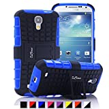 S4 Case ,Galaxy S4 Case, DLF Case [ Shockproof ] Samsung Galaxy S4 Case Heavy Duty Rugged Dual Layer TPU Textured Non Slip Reinforced Polycarbonate Hybrid Case for Samsung Galaxy S4 with Kickstand (Blue)