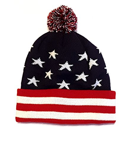 Euroscarves USA Beanie Winter Cap Hat Stars and Stripes (Blue)
