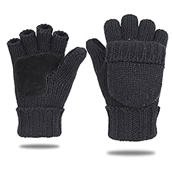 EGOGO Knit Convertible Fingerless Gloves Warm Wool Mittens Suede Thermal Insulation Mittens For Men and Women E605-1 (Black)