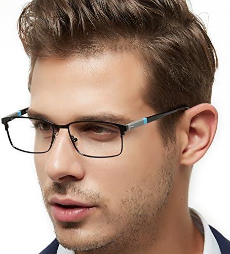 OCCI CHIARI Rectangle Full-Rim Metal Optical Glasses Acetate Arm For Bussiness Men (new blue, 54)