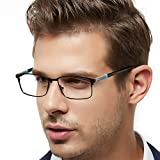 OCCI CHIARI Rectangle Full-Rim Metal Optical Glasses Acetate Arm for Bussiness Men (Black/Blue, 54-17-145)
