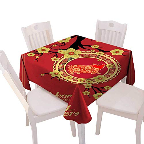 Christmas Tablecloth Happy Chinese New Year year of the pig paper cut style Zodiac sign for greetings card flyers invitation posters brochure banners calendar Square Tablecloth W 70