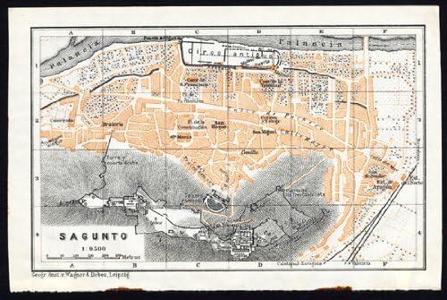 Antiguo ThePrintsCollector mapa de España-Plan de sagunto-Karl baedeker-1913: Amazon.es: Hogar
