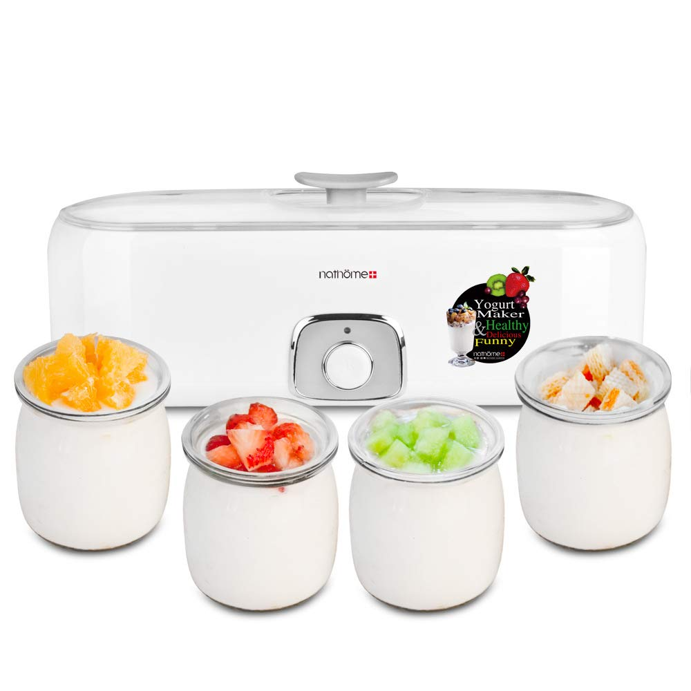 CICIN Yogurt Maker Automatic,Yoghurt Maker Machine with 4 Glass Display with Constant Temperature Control Stainless Steel Design for Home Use
