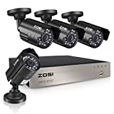 ZOSI 4CH 720P HD Security Camera System with 4 Weatherproof 3.6mm Lens 65ft Night Vision 720P Security Cameras NO Hard Drive Support Smartphone Scan QR Code Quick Remote Access