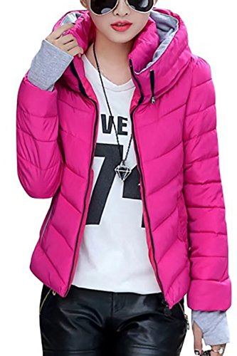 Sandbank Women's Winter Parka Jacket Warm Stand Collar Cotton Quilted Down Coat Rose Red US 8-10
