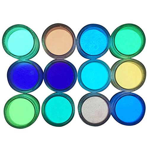 - Sunsee Glow in The Dark Nail Powder Sand Fluorescent Luminous Neon Pigment Nail Art (Multicolor)