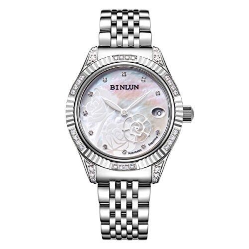 BINLUN Stainless Steel Ladies Automatic Watches Silver Waterproof Women's Watches Rose Hand Date by BINLUN