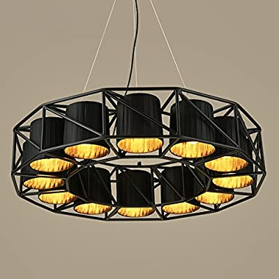 ALUS- Industrial Style Iron Chandelier, Iron Lamp Body Fabric Lampshade E27 12 Round Chandelier (75 13cm, Hanging Chain Height Adjustable 120cm)