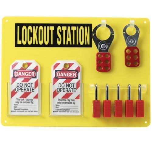 Brady Padlock, Hasp, and Tag Lockout Station, Includes 5 Safety Padlocks