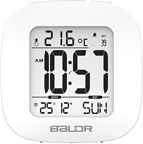 BALDR Digital Travel Small Alarm Clock with Snooze, White