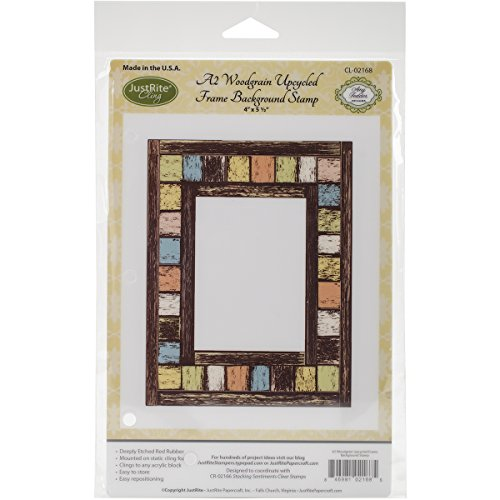 Justrite Papercraft A2 Woodgrain Upcycled Cling Background Stamp, 4.5 x 5.75