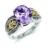 Sterling Silver Polished Prong set Antique finish With 14k 3.30Pink Amethyst Ring - Ring Size Options: 6 7 8