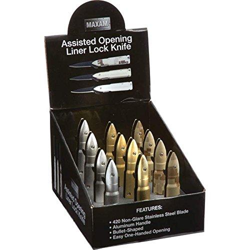 Maxam SKSABLT 12 Piece Assisted Opening Liner Lock Bullet Shaped Pocket Knife ()