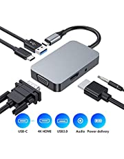 USB C Hub, Type C 5 in 1 Hub Adapter, USB 3.0, Aduio Jack, 1080P VGA, 4K HDMI, USB-C Power Delivery, Aluminum Adapter Compatible with MacBook Pro 2016/2017/2018 and More USB-C Devices (Space grey)