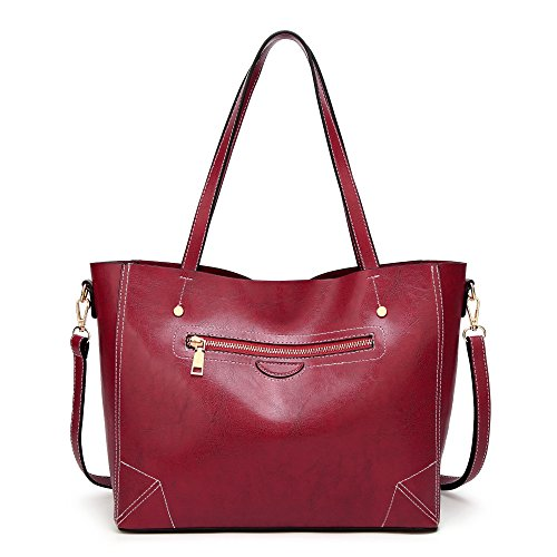 Vintage Shoulder Capacity Brown Briefcase Messenger Retro Large Handbags Soft Tote Wine Lady Casual Womens Leather Bags Cqw01a7