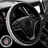 New Diamond Leather Steering Wheel Cover with Bling Bling Crystal Rhinestones, Universal Fit 15 Inch Anti-Slip Wheel Protector for Women Girls,Black