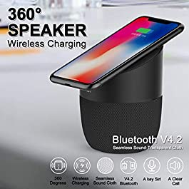 Bluetooth Speaker with Wireless Charging Station – Compatible iPhone 11, 11 Pro, 11 Pro Max, XR, XS Max, XS, X, 8, 8…