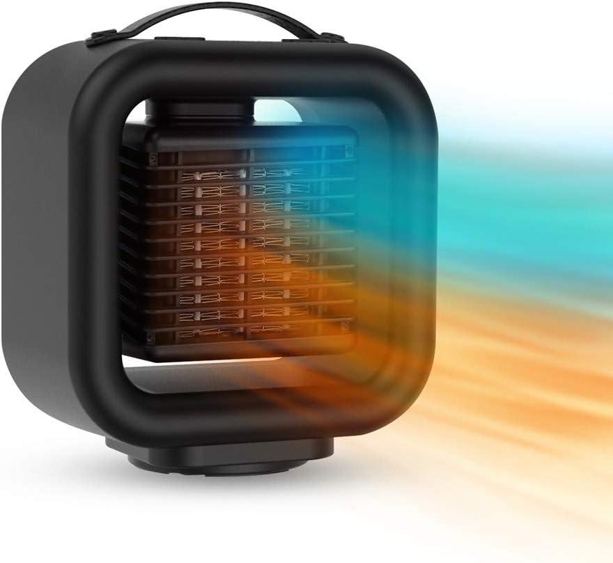 Calentador de ventilador de cerámica portátil, Calefactor baño bajo consumo Calentador de calentamiento eléctrico rápido sacudida Silencio Calentador de 1000W calefacción Emisores térmicos (1)
